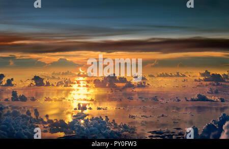 Solar Eclipse over South China Sea in May 2012, South China Sea, Palawan, Philippines - Stock Photo