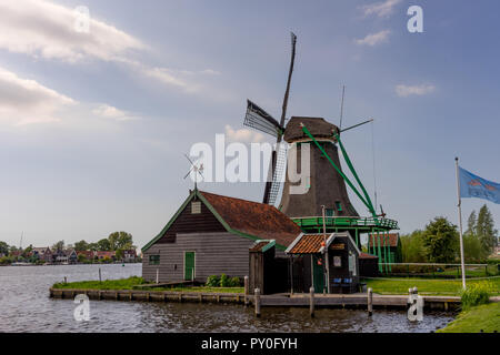 Zaanse Schans - 20 May: A facade of an old windmill at Zaanse Schans on 20 May 2017. Zaanse Schans is a Unesco world heritage site - Stock Photo