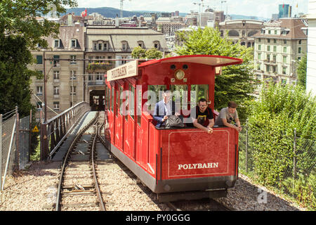 People riding Polybahn near Polybahn Central station at old city, Zurich, Switzerland - Stock Photo