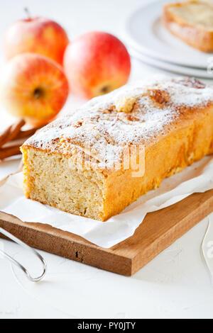 Homemade apple cake with organic apples and cinnamon - Stock Photo