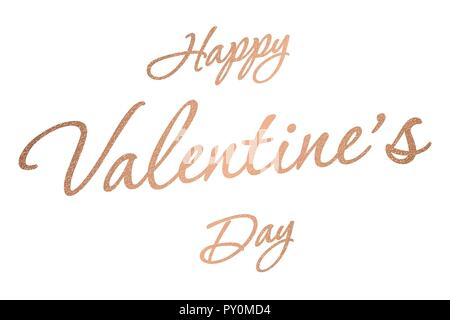 Happy Valentine Day vector heart calligraphy gold text for greeting card - Stock Photo