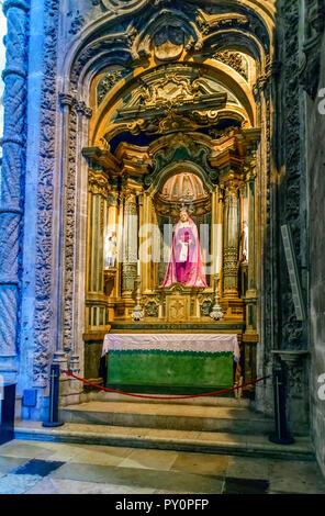 virgin mary statue inside Mosteiro dos Jerónimos Lisbon Portugal - Stock Photo