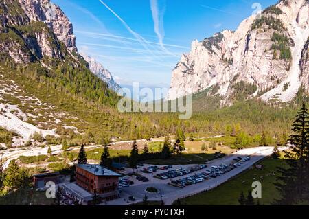 Pederu valley and Dolomite peaks near San Vigilio di Marebbe, Italy - Stock Photo