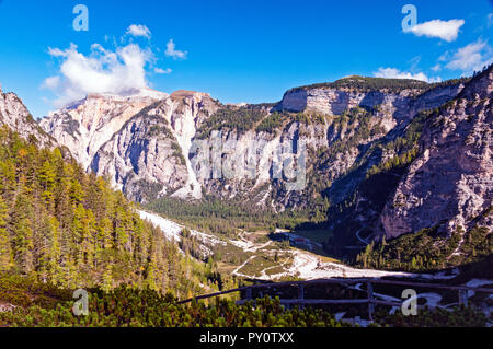 Looking down at Pederu valley from Fanes hike, Fanes Senes Braies Nature Park, Italy - Stock Photo