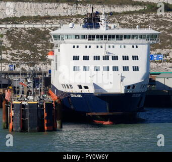 AJAXNETPHOTO. 2018. DOVER, ENGLAND.- CROSS CHANNEL CAR AND PASSENGER FERRY DFDS COTE DES DUNES MOORED IN THE HARBOUR. PHOTO:JONATHAN EASTLAND/AJAX REF:GX8_180910_907 - Stock Photo