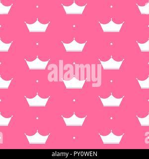 Princess Crown Seamless Pattern Background Vector Illustration. - Stock Photo