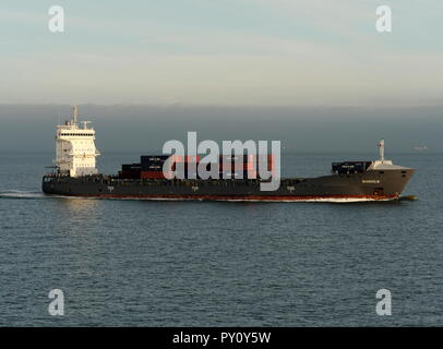 AJAXNETPHOTO. 2018. ENGLISH CHANNEL. - COASTAL BOXSHIP - THE COASTAL TRADE CONTAINER SHIP MAASHOLM INWARD BOUND TO DUNKERQUE. PHOTO:JONATHAN EASTLAND/AJAX REF:GX8_181909_303 - Stock Photo
