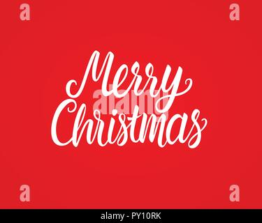 Merry Christmas white hand drawn lettering text inscription. Vector illustration isolated on red background. Holiday Greeting Design Card - Stock Photo