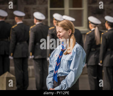 Iceland's Scout Independence day, Police officers in the background, June 17, Reykjavik, Iceland - Stock Photo