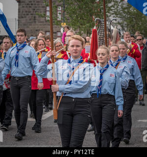 Iceland's Scouts taking part in the festivities of Independence day, June 17, Reykjavik, Iceland. - Stock Photo