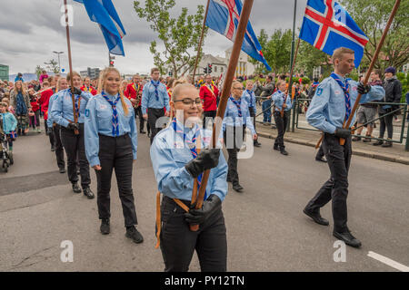 Iceland's Scouts taking part in the festivities of Independence day, June 17, Reykjavik, Iceland - Stock Photo