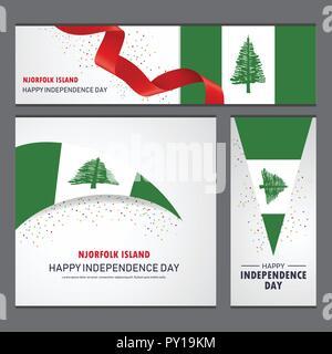 Happy NJorfolk Island independence day Banner and Background Set - Stock Photo