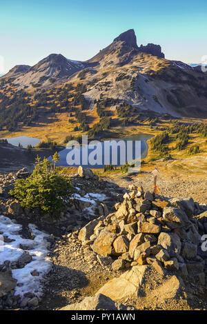 Black Tusk Volcano Rock Formation Landscape View from Great Hiking Trail to Panorama Ridge in Garibaldi Park, Coast Mountains British Columbia, Canada - Stock Photo