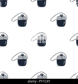 Flask pattern. Camping equipment seamless background. Hiking gear wallpaper. Stock vector illustration isolated - Stock Photo