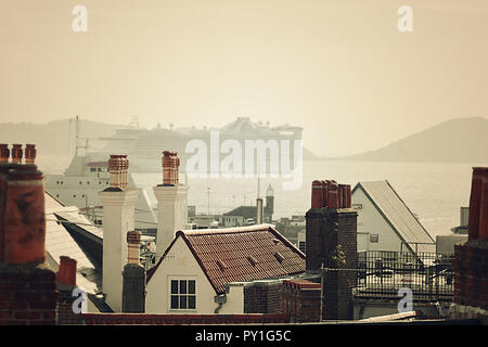 View at the Guernsey harbor  and cruise ship - Stock Photo