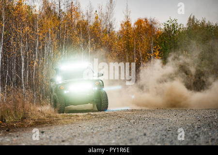 Toyota Tacoma quick ride on a offroad - Stock Photo