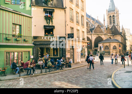 Quartier de la Sorbonne is 20th administrative district or quartier of Paris, France. It is located in 5th arrondissement of Paris, near jardin du Luxembourg and Sorbonne, on Montagne Sainte-Genevieve, Paris, Ile-de-France, France - Stock Photo