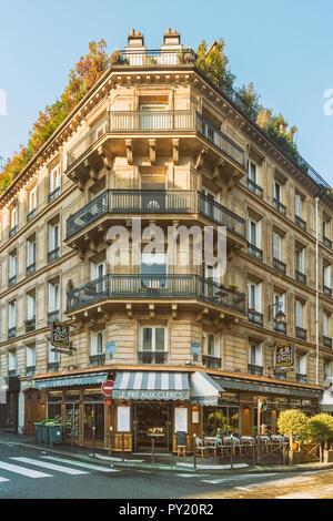 Front view of classic parisian building at Bonaparte Street, Latin quarter close to Sorbonne University, Paris, Ile-de-France, France - Stock Photo