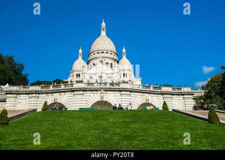 Exterior of Basilica of the Sacred Heart of Paris, Montmartre, Paris, France - Stock Photo