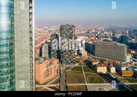 Aerial view of business district, Milan, Lombardy, Italy - Stock Photo
