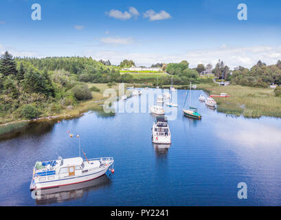An aerial view of leisure boats at Lisloughrey Pier, near the village of Cong, in County Galway, Ireland. - Stock Photo