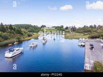 An aerial view of leisure boats at Lisloughrey Pier near the village of Cong in County Galway, Ireland. - Stock Photo