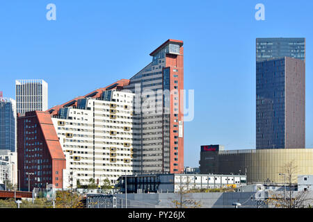 Stratford City East London development high rise skyline at Queen Elizabeth olympic park & Westfield students flats & modern apartment building UK - Stock Photo