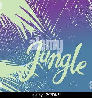 Blue Tropical jungle palmer under sun fest - Stock Photo