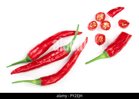 sliced red hot chili pepper isolated on white background. Top view. Flat lay pattern. - Stock Photo