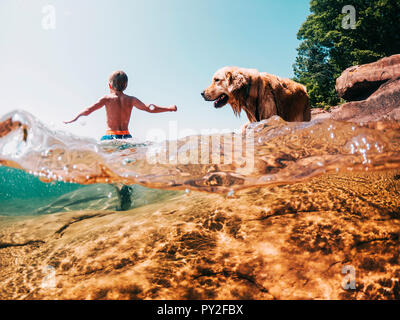 Boy and dog walking in a lake, Lake Superior, United States - Stock Photo