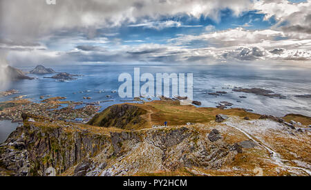 Rural landscape view from Mt Nonstinden above Ballstad, Vestvagoy, Lofoten, Nordland, Norway - Stock Photo
