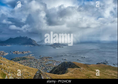 Rural landscape view from Mt Nonstinden, Ballstad, Lofoten, Nordland, Norway - Stock Photo
