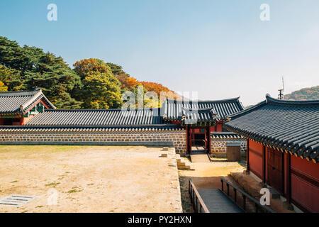 Namhansanseong Fortress, Korean old traditional house with autumn maple in Gwangju, Korea - Stock Photo