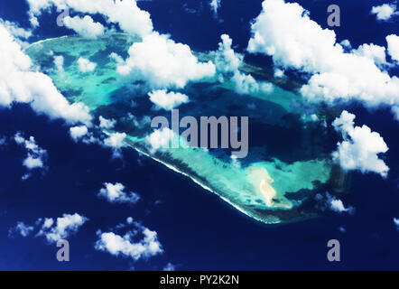 Aerial view of the Paracel islands in the South China Sea. - Stock Photo