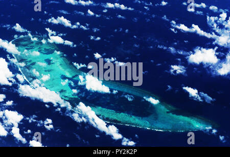 Aerial view of the Antelope reef in the Paracel islands in the South China Sea. - Stock Photo