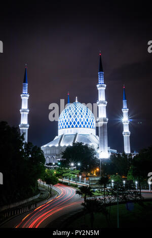 Night view of the Blue Mosque with the light trail Stock Photo