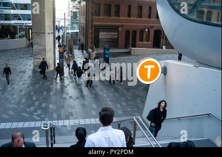 11.05.2018, Sydney, New South Wales, Australia - People are seen walking along a pedestrian zone in the business district in Barangaroo South. - Stock Photo