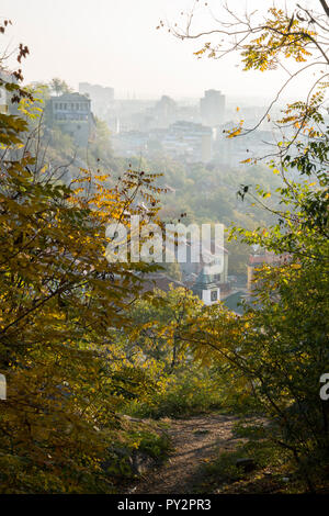 Scenic view of old town Plovdiv, Bulgaira in autumn - Stock Photo