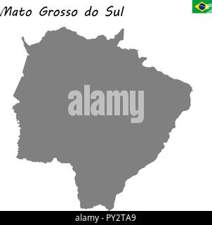 High Quality map of Mato Grosso do Sul is a state of Brazil - Stock Photo