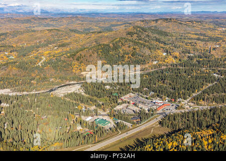 Aerial view of Bragg Creek, Alberta in the foothills west of Calgary. - Stock Photo