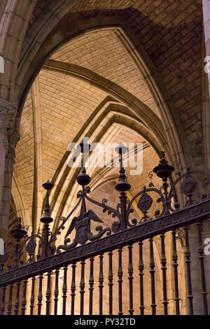 León, Spain: Detail of the inrowork in the central nave of Santa María de León Cathedral. Known locally as the Pulchra Leonina, the mid-13th century c - Stock Photo