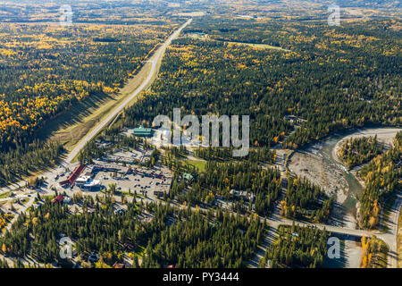 Aerial view of Bragg Creek, Alberta in fall. - Stock Photo