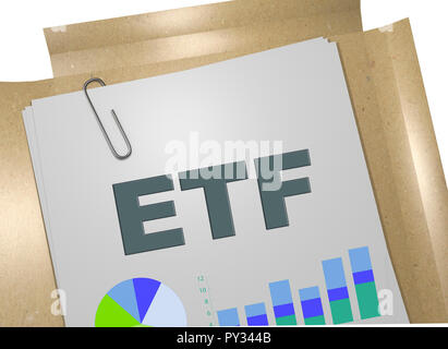 3D illustration of ETF title on business document - Stock Photo