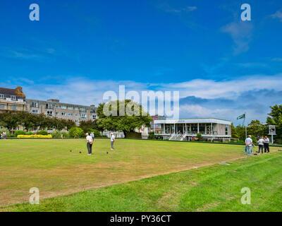 8 June 2018: Plymouth, Devon, UK - Plymouth Hoe Bowling Club. - Stock Photo