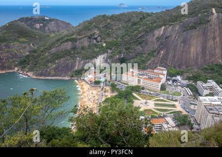 Aerial view of Praia Vermelha Beach from Urca Mountain - Rio de Janeiro, Brazil - Stock Photo