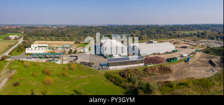 Aerial view on Waste and Recycling Centre in rural landscape, household waste displosal and treatment, ecology and earth preservation, Pragersko - Stock Photo
