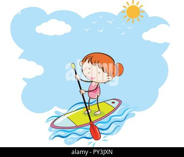A Girl Doing Stand Up Paddle Board illustration - Stock Photo