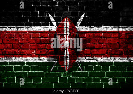 National flag of Kenya on a brick background. Concept image for Kenya: language , people and culture. - Stock Photo