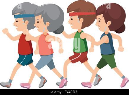 cartoon healthy old man jogging Stock Vector Art ...