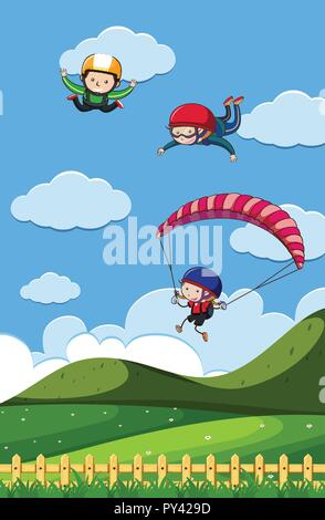 Doodle Kids with Sky Activities illustration - Stock Photo